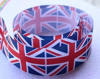5 yards Union Jack Flag Grosgrain Ribbons 4cm One Sided Printed British Flag Ribbon Patriotic Headband,Party Decor,DIY Craft Supplies