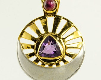 Amethyst and Pink Tourmaline Pendant (Gold Plated #8555), Healing Crystal Jewelry for Positive Energy, Reiki, Spiritual / Metaphysical Work