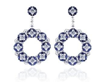 925 Sterling Silver Dazzling Sapphire CZ Drop Earring 5.43 CT.TW (S93)