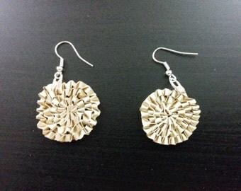 Coffee colored weaved circular earrings