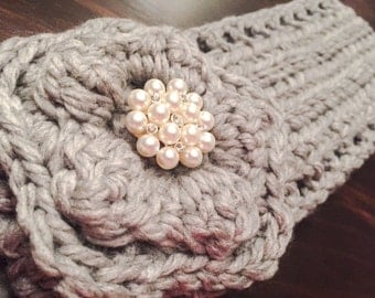 Grey Chunky Crocheted Headband with Sparkly Pearl Flower Centerpiece ( crochet / crochet ear warmer with flower / fall and winter )