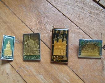 Set of 4 Suzdal city pin - Soviet Vintage Pin Badge of Suzdal City Made in USSR in 1970s