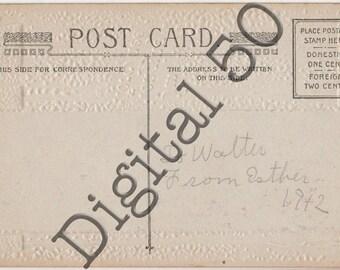 Postcard Back 1912 Digital Download