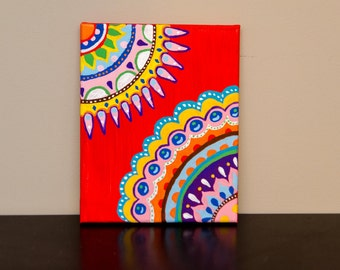 Colorful Abstract Acrylic Painting on Canvas