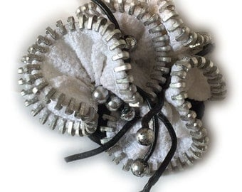 White Handmade Flower Brooche with Vintage Metal Zipper and Leather