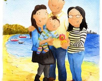 Custom Portrait Illustration, Family Portrait Illustration, Group Portrait Illustration, A5 Print