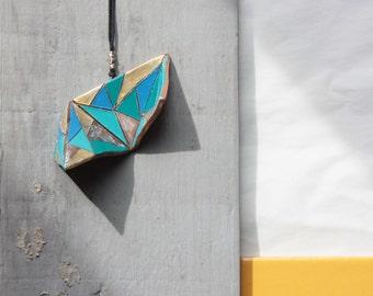 terracotta origami necklace
