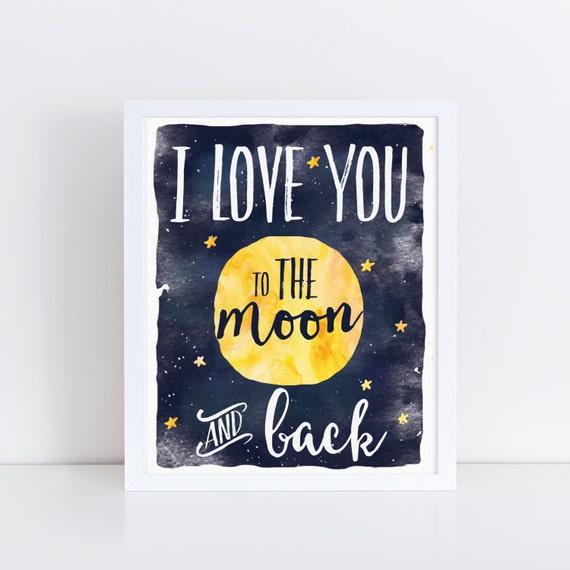 Celestial Nursery Art, Star Nursery, Moon Nursery, Watercolor Nursery Art, To The Moon And Back, Kids Art, Moon Star Galaxy Watercolor Art