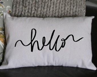 Hello Pillow, New Year's Pillow, Decorative Pillow, Gift Pillow Whimsical Pillow, Holiday Pillow, 12x16