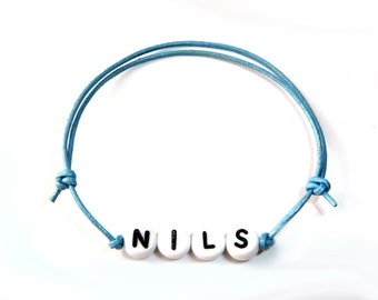 Name bracelet leather light blue