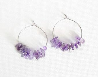 Silver Hoop Earrings, Amethyst Earrings, Silver Amethyst Earrings