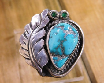 Vintage Blue Turquoise Nugget Ring with Sterling Silver Size 8