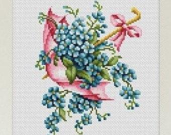 Cross Stitch Kit Pink Umbrella Luca-s Anchor threads
