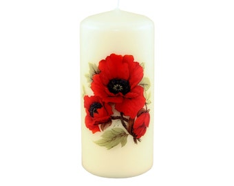 Poppies Ivory Pillar Candle