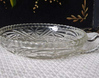 Vintage Anchor Hocking EAPG Thousand Stars and Bars Nappy Glass Dish