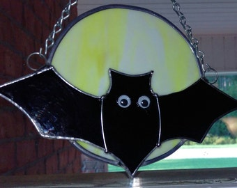 Stained Glass Bat and Moon Halloween Suncatcher, Halloween decoration