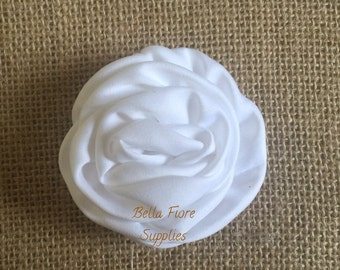 White Satin Rolled Rosette Flowers, 3 inch, DIY headband, wholesale satin rosette flowers, satin flower embellishment