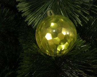 Vintage Christmas tree ornament USSR. Glass and plastic lime ball