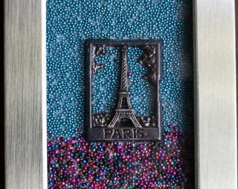 Beaded Paris Eiffel Tower, frame