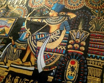 Egypt Collection black Fabric by Alexander Henry, out of print, rare, 1993, Egyptian, cartouche, scarab, pharoah, remnant 25x26 inches