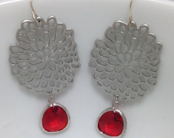 silver mum with red stone earrings