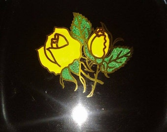 Vintage Couroc black serving tray with yellow roses
