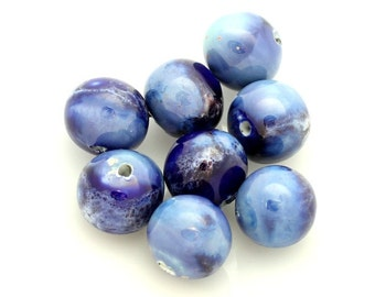 Ceramic Beads (x3). 14mm Ocean Blue Baroque Round Beads. Marbled