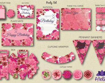 Pink Floral Party Set 2
