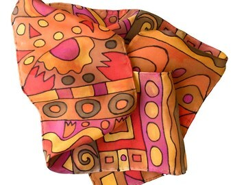 Geometric Silk Scarf. Hand painted. Abstract scarf. Autumn colours. ON SALE