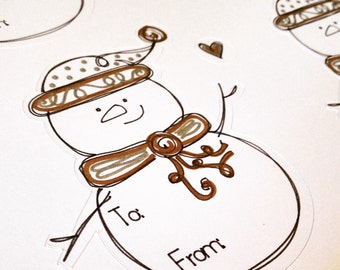 "Christmas Gift Labels ""Snowman"" (Sheet of 6)"