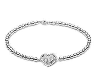 Limited sparkle heart • silver • ball bracelet