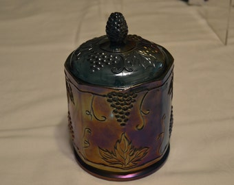 Indiana Glass Harvest Grape Iridescent Blue Carnival Glass Covered Canister - Vintage Item #3479
