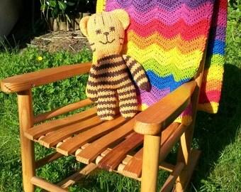 Rainbow ripple crochet baby blanket, new baby gift, rainbow baby, cotton blanket, lightweight blanket,