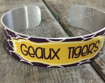 Geaux Tigers Metal Cuff Bracelet, Jewelry, purple and gold