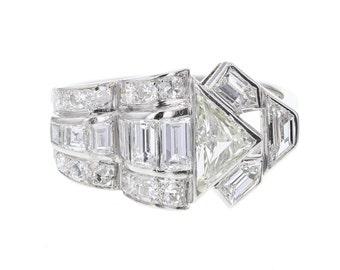 Art Deco Diamond Fancy Cluster Ring in Platinum