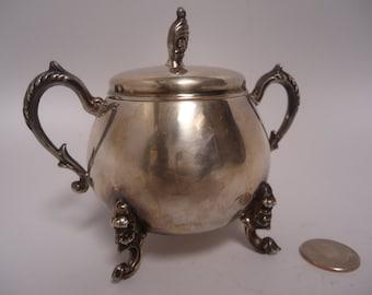 Vintage Sheridan Silver on Copper Sugar Bowl