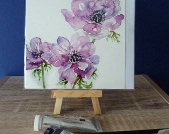 Pink Anemone - a greetings card from a watercolour by Pauline Merritt