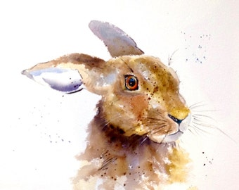 """Hare """"All Ears"""" - (10.5 x 14.5"""" before mount) Giclee Fine Art print from an original watercolour of a Hare by Karen Thomas"""