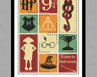 BUY 2 GET 1 FREE. Harry Potter Cross stitch pattern. (#P- 0133). Harry Potter modern cross stitch. Counted Cross Stitch Pattern.