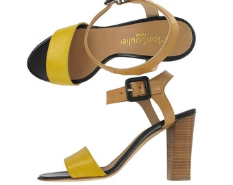 SUMMER SALES , Yellow and beige leather ankle strap sandal, Beige leather sandals, Yellow sandal, Italy shoes,Women leather sandal, Rio