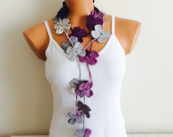 Crochet flower necklace, Crochet long necklace, Crochet flower belt, Handmade flower scarf, Crochet lariat necklace scarf,  gift for her