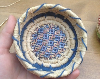 Sardinian wool basket, raffia and fabric