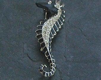 Vintage Black Gold Crystals Seahorse Brooch