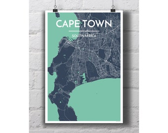 Cape Town, South Africa - City Map Print