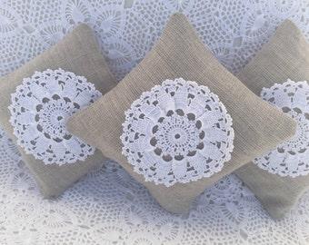 Lavender Linen Sachet with Crochet