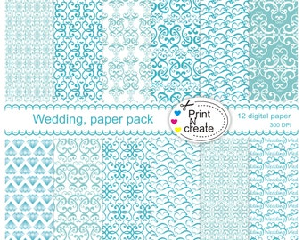 Wedding Paper pack, Turquoise paper pack, - SALE, Digital Scrapbooking - Instant Download