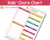 Kids' Chore Chart - Editable / Fillable / Printable Checklist Planner