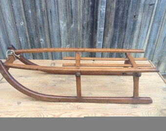 French vintage wood sled sledge Former wooden sled with iron runners