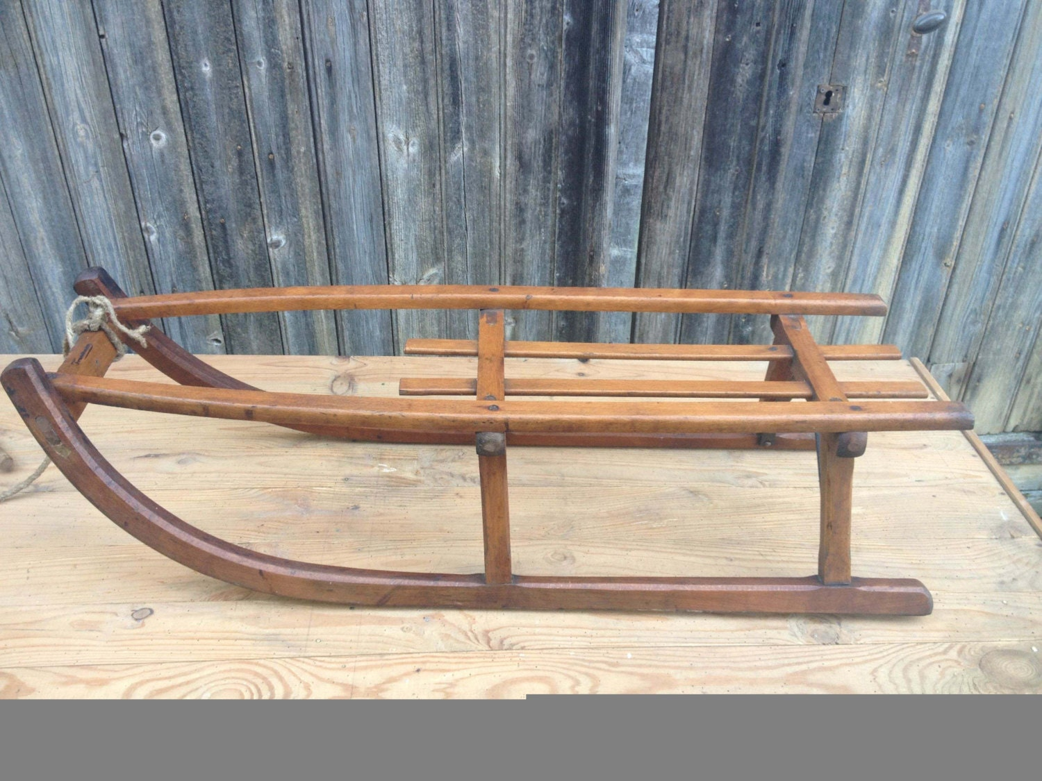 French vintage wood sled sledge former wooden sled with iron for Vintage sleds