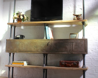 Kensington Scaffolding Board and Gas Pipe Shelving Unit incorporating a Distressed Vintage Gym Locker as Storage - www.urbangrain.co.uk